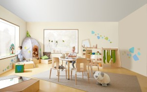 Kinderdagverblijf met HABA inrichting en speelgoed.